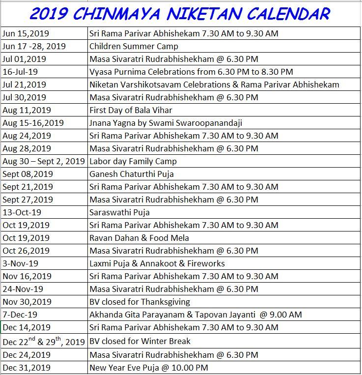 Atlanta Calendar Of Events 2019 2019 Calendar of Events   Chinmaya Niketan Atlanta